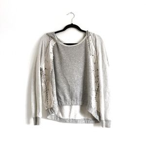 Free People Tops - Free People Lace Pullover Hoodie Grey Size Small